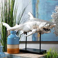 Silver Shark Sculpture