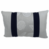 Silver Shells with Navy Accent Indoor/Outdoor Pillow - 20 x 12