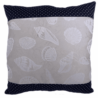 Silver Shells with Navy Accent Indoor/Outdoor Pillow - 20 x 20