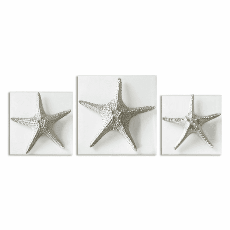 Silver Starfish Wall Plaques - Set of 3