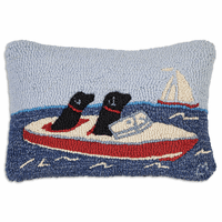 Ski Boat Labs Hooked Wool Pillow