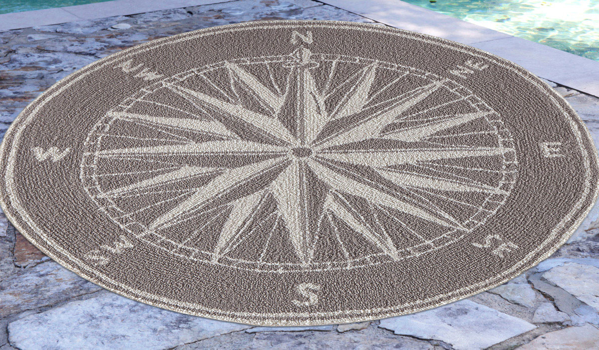 Skipper S Compass Gray Indoor Outdoor Rug 5 Ft Round