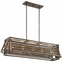 Slatted 5 Light Outdoor Linear Pendant