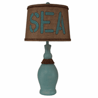 Slender Neck Turquoise Table Lamp with Sea Shade