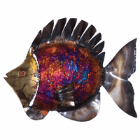 Small Fringed Top Fin Copper Dripped Fish - Set of 3