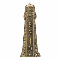 Small Lighthouse Vertical House Number Plaque - Antique Brass