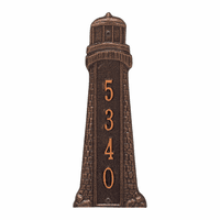Small Lighthouse Vertical House Number Plaque - Antique Copper