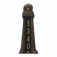 Small Lighthouse Vertical House Number Plaque - Black & Gold