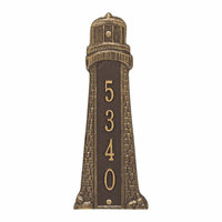 Small Lighthouse Vertical House Number Plaque - Bronze & Gold