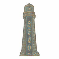 Small Lighthouse Vertical House Number Plaque - Bronze Verdigris