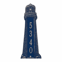 Small Lighthouse Vertical House Number Plaque - Dark Blue & Silver