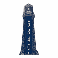 Small Lighthouse Vertical House Number Plaque - Dark Blue & White