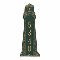 Small Lighthouse Vertical House Number Plaque - Green & Gold