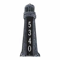 Small Lighthouse Vertical House Number Plaque - Indigo & White