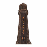 Small Lighthouse Vertical House Number Plaque - Oil Rub Bronze