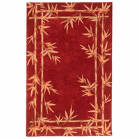 Sparta Red Bamboo Double Border Rug Collection