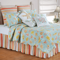 St. Martin Blue Quilt Bed Set - King - OVERSTOCK