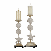 Stacked Shell Candle Holders - Set of 2