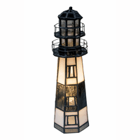 Stained Glass Banded Lighthouse Accent Lamp