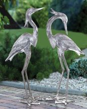 Standing Egret Sculptures - Set of 2