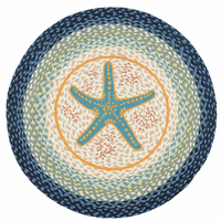 Starfish Blues Round Braided Rug