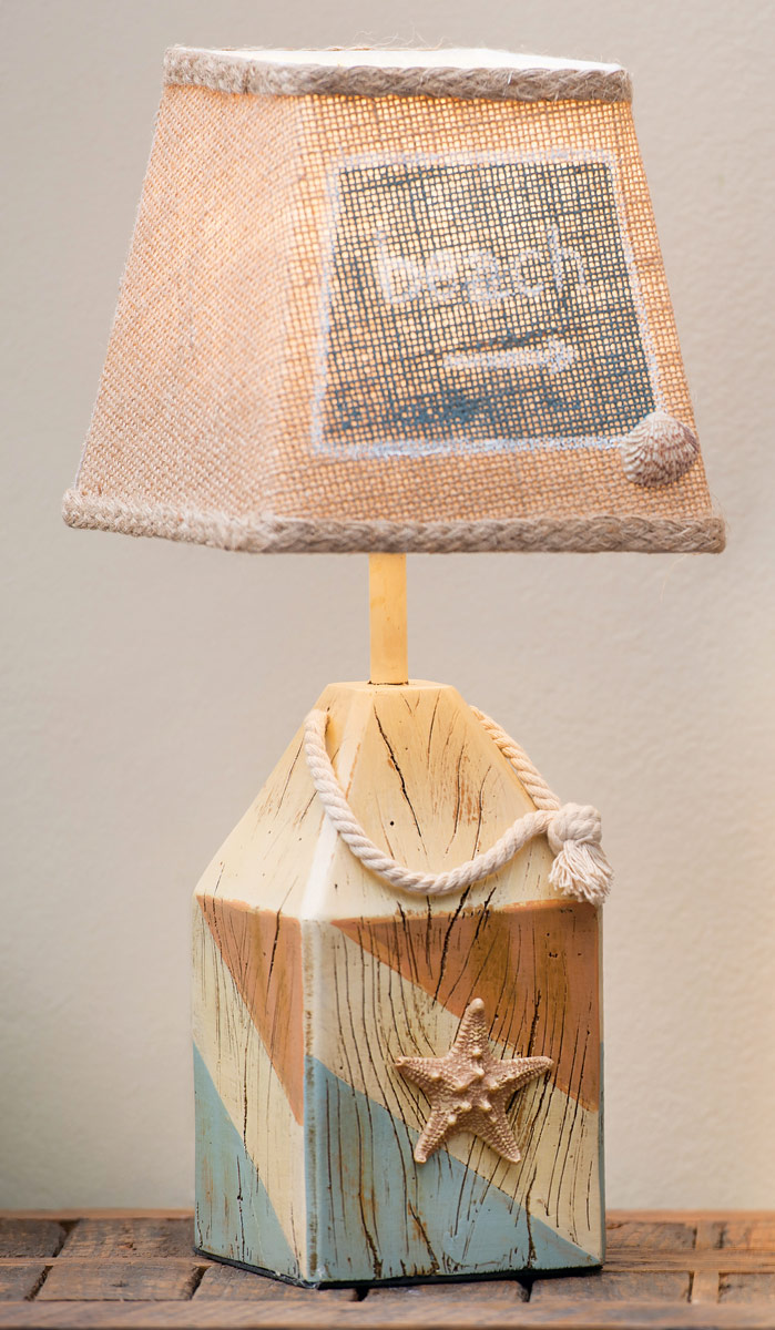Starfish Buoy Accent Lamp With Burlap Shade Set Of 2