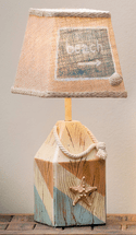 Starfish Buoy Accent Lamp with Burlap Shade - Set of 2