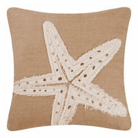 Starfish Burlap Embroidered Pillow