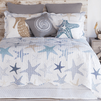 Starfish Microfiber Quilt Bed Set - Queen