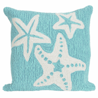 Starfish Sea Blue Indoor/Outdoor Pillow