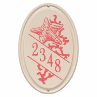 Starfish Vertical Oval Personalized Address Plaque - Coral