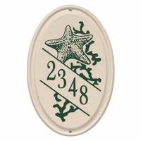 Starfish Vertical Oval Personalized Address Plaque - Green
