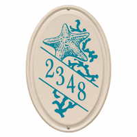 Starfish Vertical Oval Personalized Address Plaque - Sea Blue