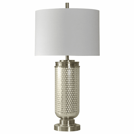 Steel Honeycomb Over Glass Table Lamp