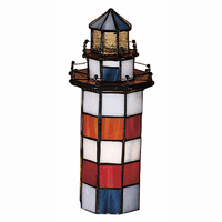 Striped Lighthouse Stained Glass Accent Lamp