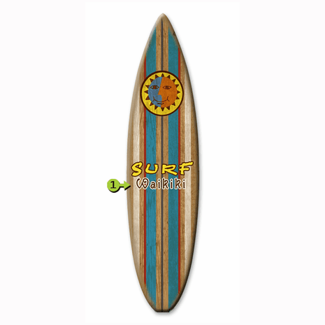 Stripes with Sun Surfboard Wood Personalized Sign - 12 x 44