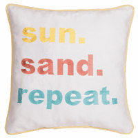 Summer Fun Embroidered Pillow