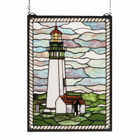Summer Lighthouse Stained Glass Window
