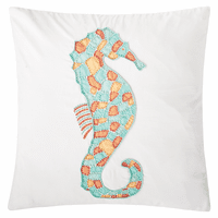 Summer Seahorse Beaded Pillow