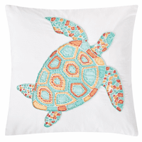 Summer Turtle Beaded Pillow