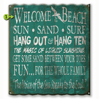 Sun Sand Surf Corrugated Metal Personalized Sign