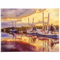 Sunset Harbor Canvas Wall Art