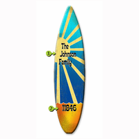 Sunshine on Blue Surfboard Wood Personalized Sign - 12 x 44