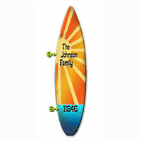 Sunshine on Orange Surfboard Wood Personalized Sign - 12 x 44