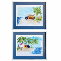Surf Wagon at the Beach Framed Art - Set of 2