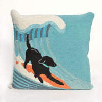 Surfing Dog Ocean Indoor/Outdoor Pillow