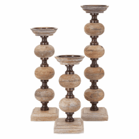 Surtsey Wood Candleholders - Set of 3