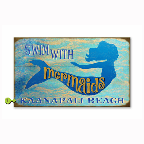 Swim with Mermaids Personalized Sign - 18 x 30