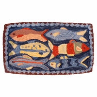 Swimming Fish Hooked Wool Pillow