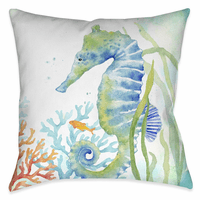 Swimming Seahorse 18 x 18 Outdoor Pillow